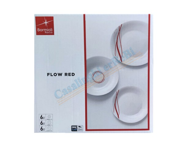 PIATTO 18 PZ WHITE MOON FLOW RED
