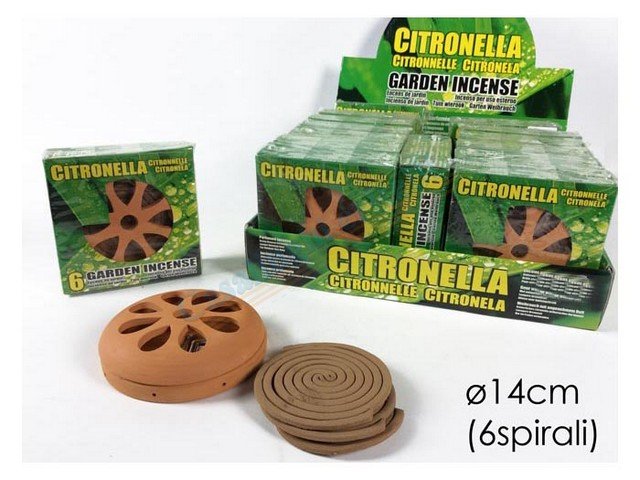 SET 6 SPIRALI CITRONELLA C/VASOIN DISPL