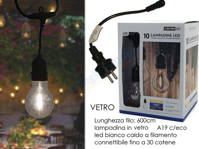 CATENA 10 LAMPADINE LED VETRO CONNETT.