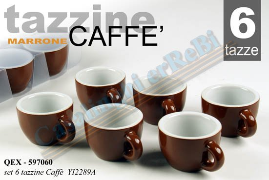 SET 6PZ CAFFE MARRONE 80ML YI-2289A